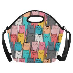 Cartoon Cat Pattern Neoprene Lunch Bag/Large (Model 1669)
