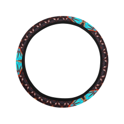K172 Wood and Turquoise Abstract Pattern Steering Wheel Cover with Elastic Edge