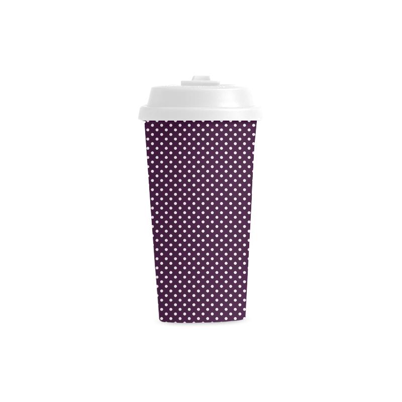 Burgundy polka dots Double Wall Plastic Mug