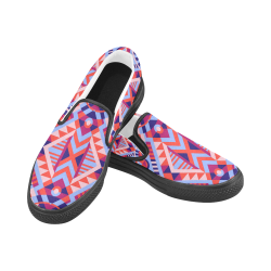 Modern Geometric Pattern Women's Unusual Slip-on Canvas Shoes (Model 019)