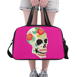 Flower Sugar Skull Pink Fitness Handbag (Model 1671)
