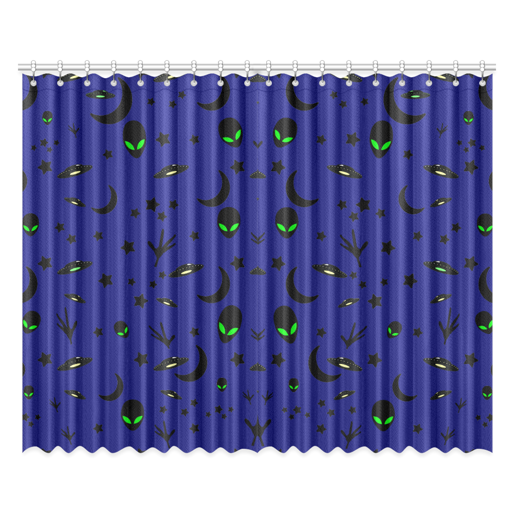 """Alien Flying Saucers Stars Pattern Window Curtain 52""""x84""""(Two Pieces)"""
