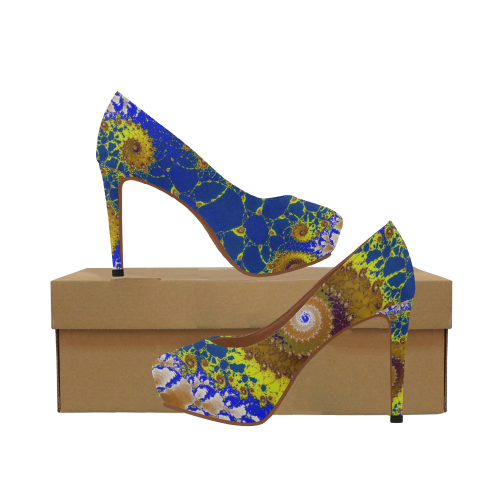 Lapis Glass Flower Spiral Women's High Heels (Model 044)