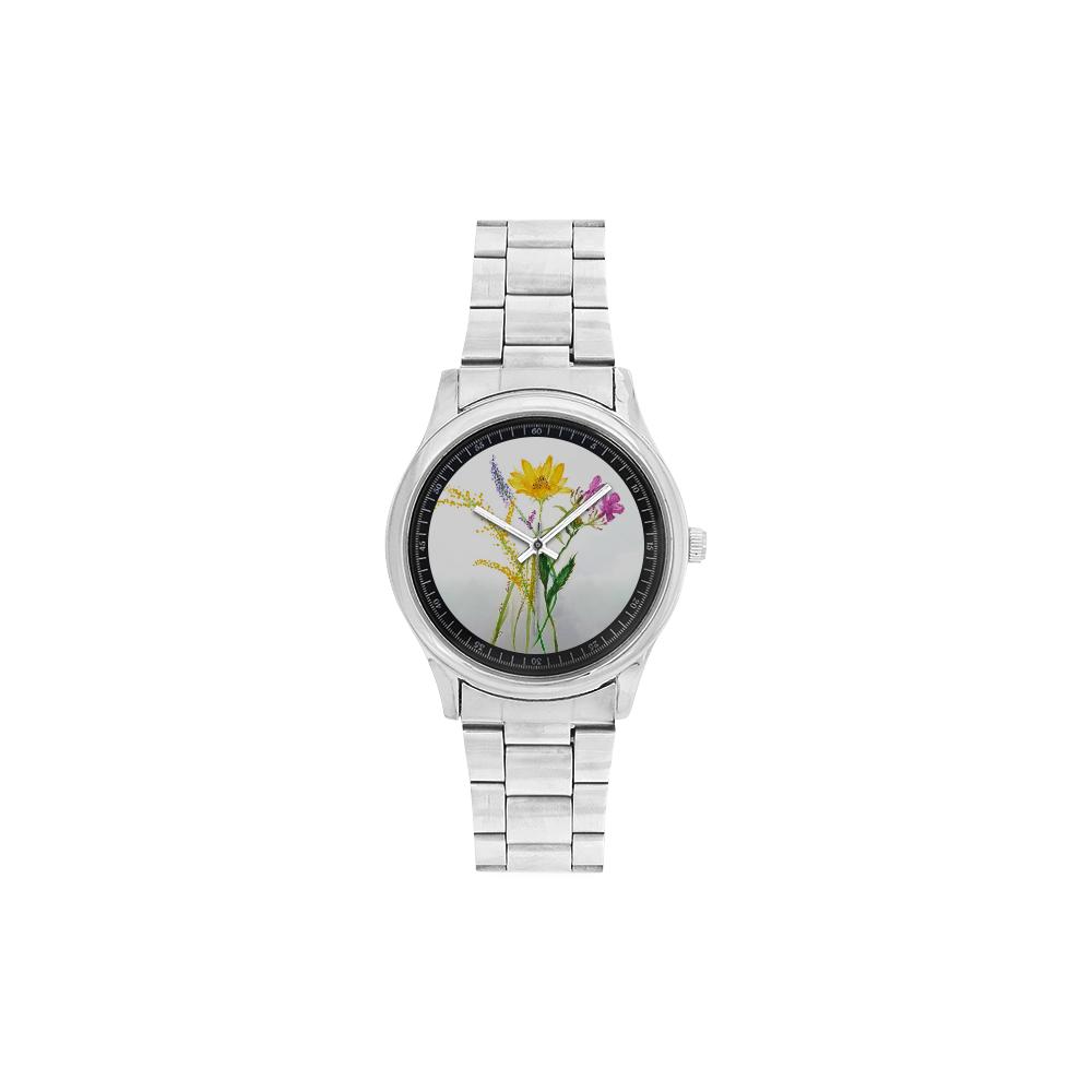 SERIES JASMIN WATERCOLOR FLOWERS Men's Stainless Steel Watch(Model 104)