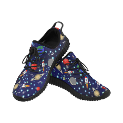 Galaxy Universe - Planets,Stars,Comets,Rockets (Black Laces) Grus Women's Breathable Woven Running Shoes (Model 022)