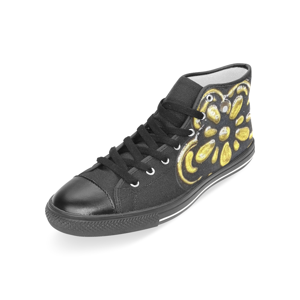 Gold Black heart Women's Classic High Top Canvas Shoes (Model 017)