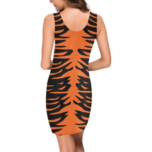 Halloween Tiger Stripes Medea Vest Dress (Model D06)