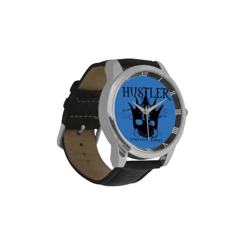 HUSTLER LOAH BLUE Men's Leather Strap Large Dial Watch(Model 213)