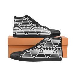 Black Aztec Tribal High Top Canvas Women's Shoes/Large Size (Model 002)