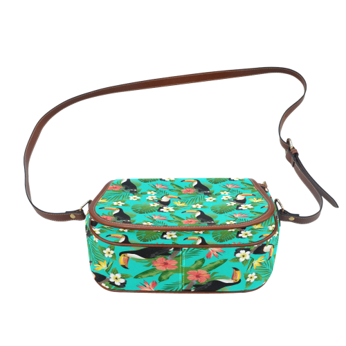 Tropical Summer Toucan Pattern Saddle Bag/Small (Model 1649) Full Customization