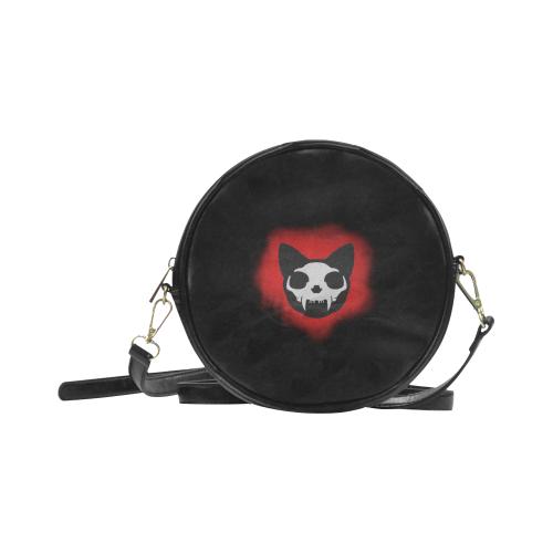 Darkstar Death Monger Cat Skull Underground Gothic Darkstar Round Sling Bag (Model 1647)