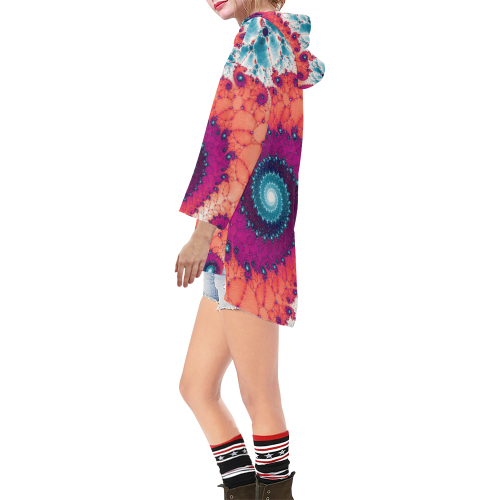 Soft Petals Glass Flower Spiral Step Hem Tunic Hoodie for Women (Model H25)