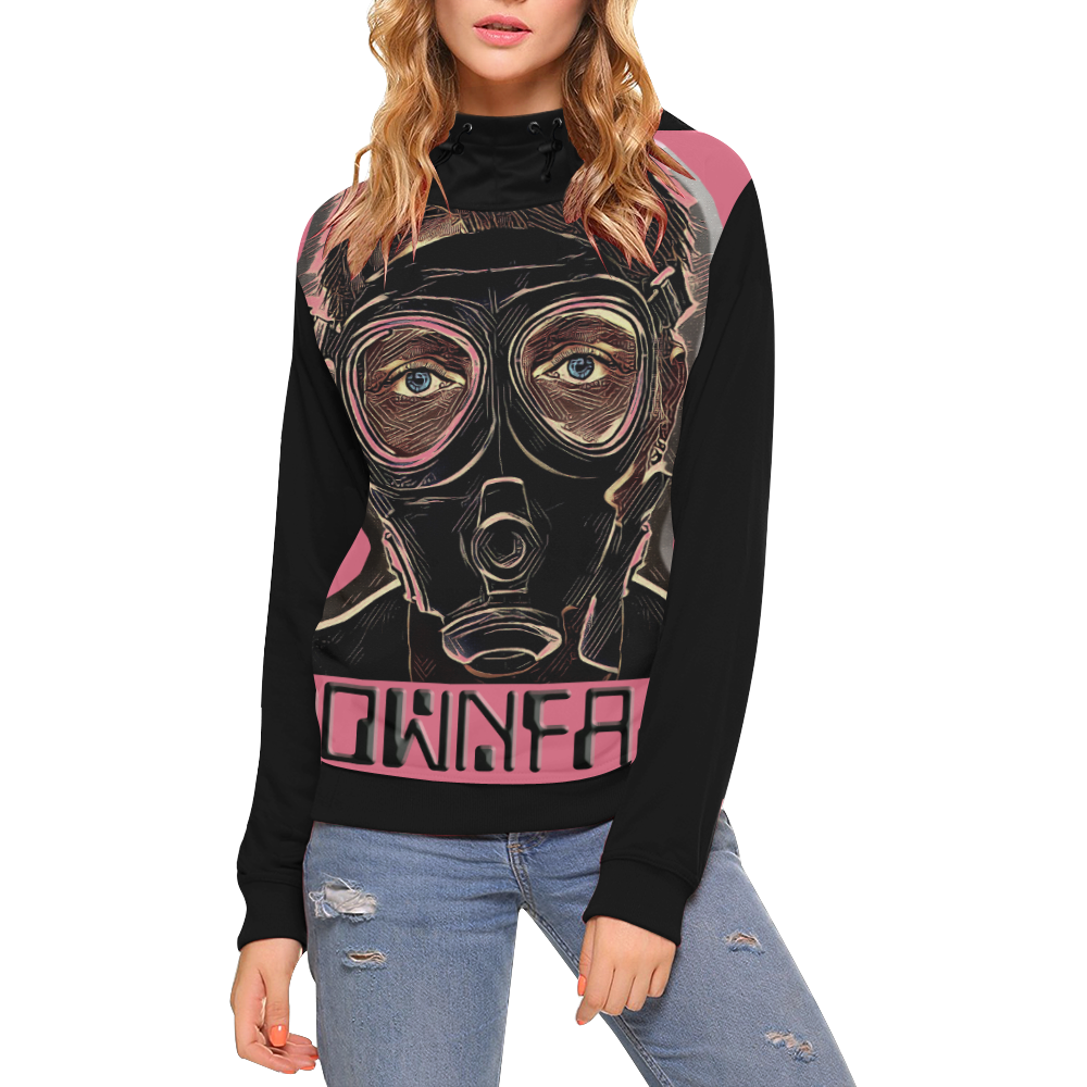 INFERNO MASK DOWNFALL High Neck Pullover Hoodie for Women (Model H24)