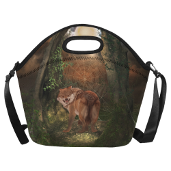 Awesome wolf in the night Neoprene Lunch Bag/Large (Model 1669)