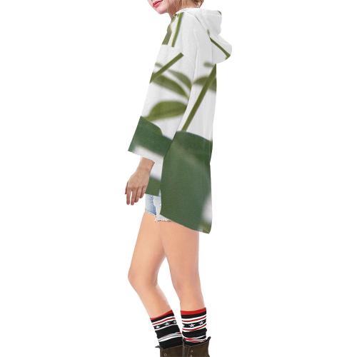 Green Art Step Hem Tunic Hoodie for Women (Model H25)