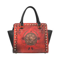 Skulls on red vintage background Rivet Shoulder Handbag (Model 1645)