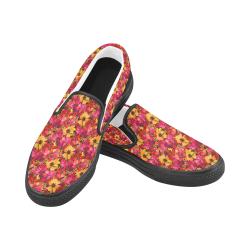 Flower Pattern Women's Unusual Slip-on Canvas Shoes (Model 019)