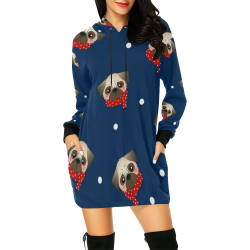 Holiday Pugs All Over Print Hoodie Mini Dress (Model H27)