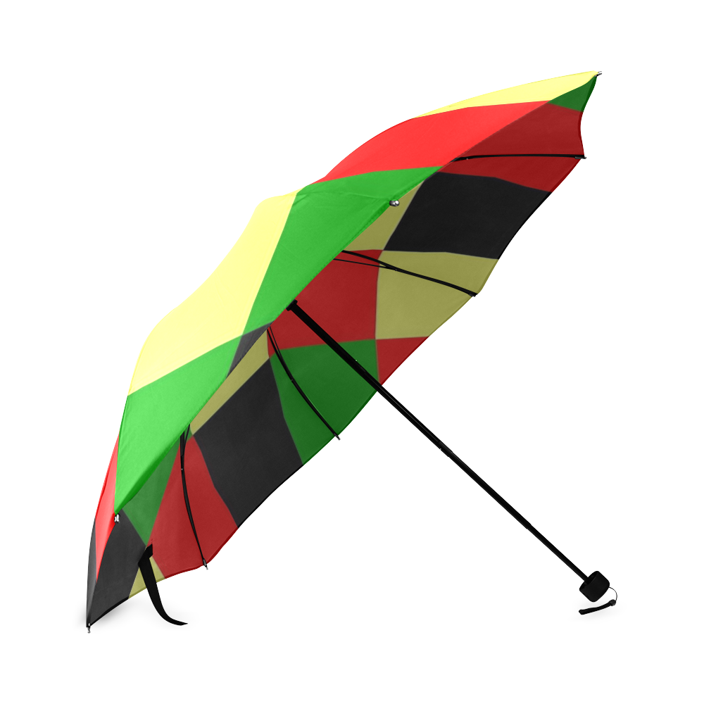 Afrocentric Checkered Foldable Umbrella (Model U01)