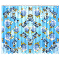 "blue shades watercolor Hydrangeas on BLUE Window Curtain 50""x84""(Two Piece)"