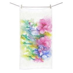 "Tropical Flowers, Bold Floral Watercolor Bath Towel 30""x56"""
