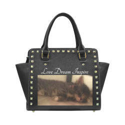 Sleeping Cat #LoveDreamInspireCo Rivet Shoulder Handbag (Model 1645)