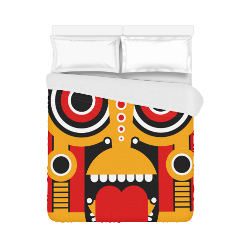 """Red Yellow Tiki Tribal Duvet Cover 86""""x70"""" ( All-over-print)"""