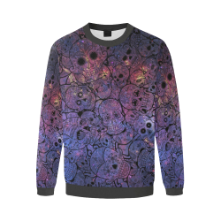 Cosmic Sugar Skulls Men's Oversized Fleece Crew Sweatshirt/Large Size(Model H18)