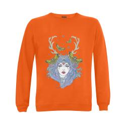 Goddess Sun Moon Earth Orange Gildan Crewneck Sweatshirt(NEW) (Model H01)