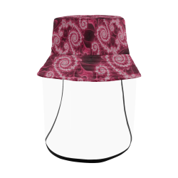 Delicate Pink White Lace Fractal Abstract Women's Bucket Hat (Detachable Face Shield)