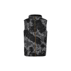 night dragon reptile scales pattern camouflage in dark gray and black All Over Print Sleeveless Zip Up Hoodie for Kid (Model H16)