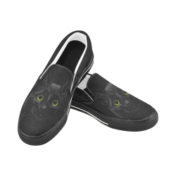 Black Cat Women's Unusual Slip-on Canvas Shoes (Model 019)