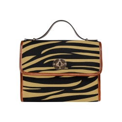 Tiger Stripes Black and Gold Waterproof Canvas Bag/All Over Print (Model 1641)