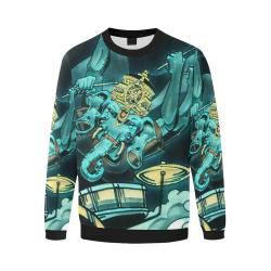 Ganesha Drummer Hoodie  - Blue and White Original Art Men's Oversized Fleece Crew Sweatshirt/Large Size(Model H18)