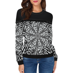 animal print 1 Women's Fringe Detail Sweatshirt (Model H28)