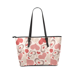 Lovely Hearts Clover Leather Tote Bag/Large (Model 1640)