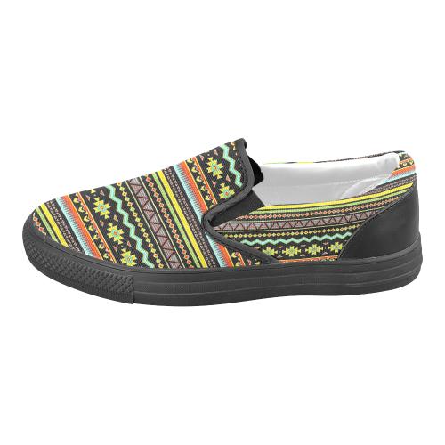 bright tribal Women's Unusual Slip-on Canvas Shoes (Model 019)