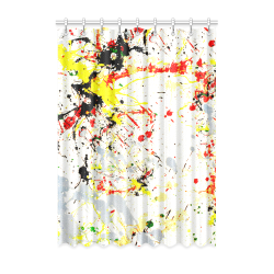 "Black, Red, Yellow Paint Splatter Window Curtain 52"" x 72""(One Piece)"