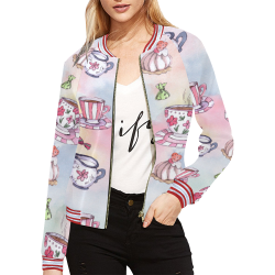 Coffee and sweeets All Over Print Bomber Jacket for Women (Model H21)