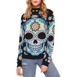 Colorful Sugar Skull High Neck Pullover Hoodie for Women (Model H24)