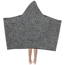 Faux silver and black swirls doodles Kids' Hooded Bath Towels