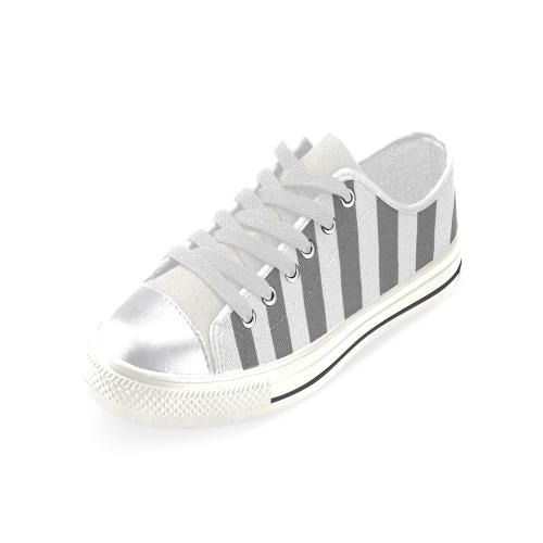 Grey Stripe Pattern Women's Classic Canvas Shoes (Model 018)