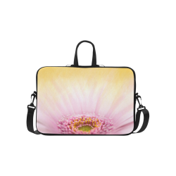 """Gerbera Daisy - Pink Flower on Watercolor Yellow Classic Sleeve for 15.6"""" MacBook Air"""