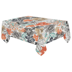 "Summer Floral Cotton Linen Tablecloth 60""x 104"""