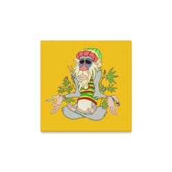 "Hippie Ganja Guru Yellow Canvas Print 12""x12"""