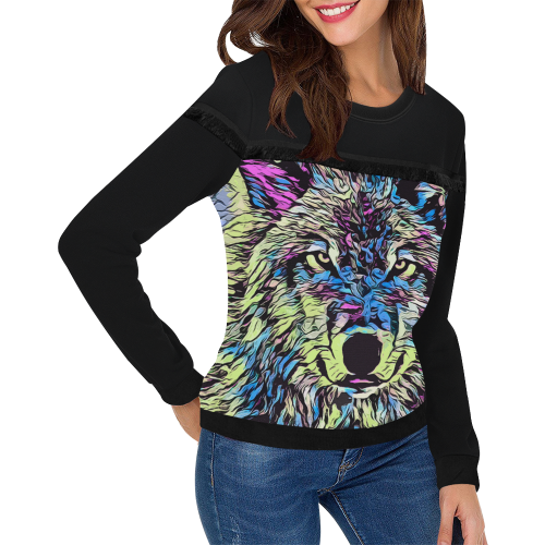 WOLF PAINTING LADYLIKE Women's Fringe Detail Sweatshirt (Model H28)