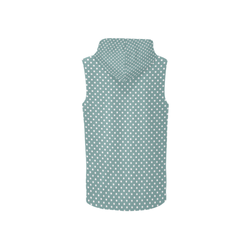 Silver blue polka dots All Over Print Sleeveless Zip Up Hoodie for Women (Model H16)