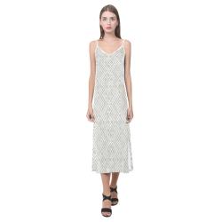 White 3D Geometric Pattern V-Neck Open Fork Long Dress(Model D18)
