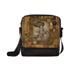 Steampunk lady with owl Crossbody Nylon Bags (Model 1633)