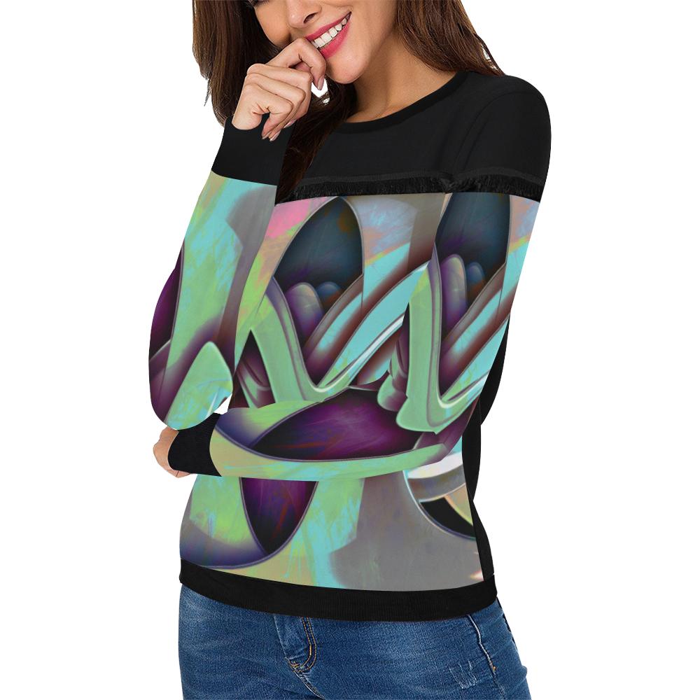 melodiza alien talk Women's Fringe Detail Sweatshirt (Model H28)